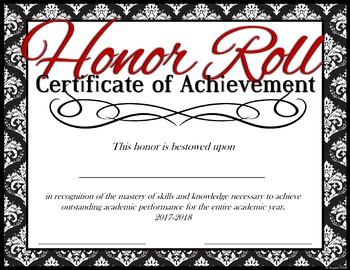 2017-2018 -- Honor Roll Achievement Award -- Full Year Certificate