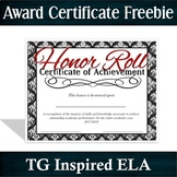 2017-2018 -- Honor Roll Achievement Award -- Full Year Cer