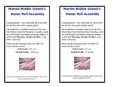 Honor Roll Assembly Invite ~Editable