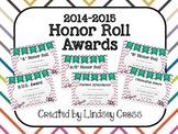 Honor Roll Award Certificates 2014-2015