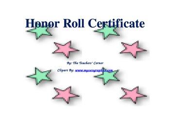 Honor Roll Certificate