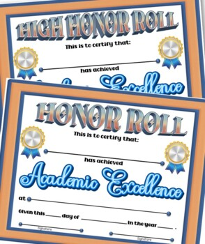 Honor Roll Certificate 2 ~ Fillable