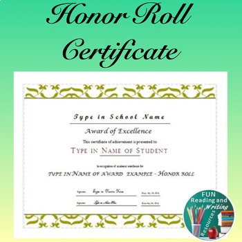 Honor Roll Award Certificate - End of Year Award