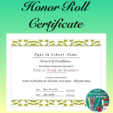 Honor Roll Award Certificate - Editable End of Year Award