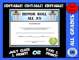 Honor Roll Certificate All A's (Pillars) - Editable