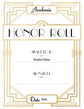 Honor Roll Certificate - Art Deco style