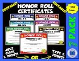 Honor Roll Certificate Set - Gold Stars - Editable