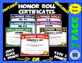 Honor Roll Certificate Set - Gold Stars - Editable