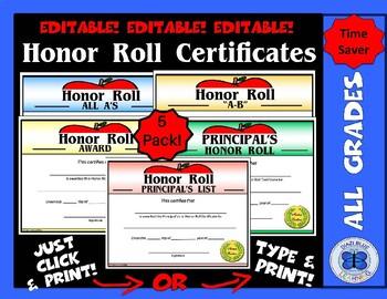 Honor Roll Certificates (Apple) - 5 Pack - Editable