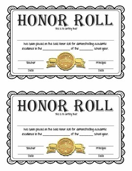Honor Roll Certificates - Gold, Silver, and Bronze - Full and Half Page