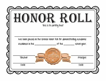 Free Printable Honor Roll Certificates