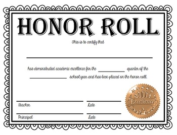 Honor Roll and High Honor Roll Certificates - NOW EDITABLE