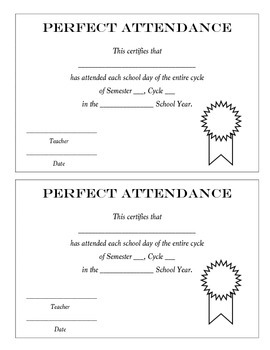 Honor Roll and Perfect Attendance Certificates