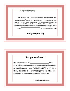 Honor Roll information for Parent Editable