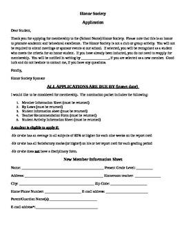 Honor Society Application