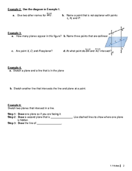 Honors Geometry 1.1 Points, Lines, and Planes Notes