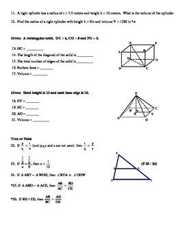 Honors Geometry Semester Two Exam