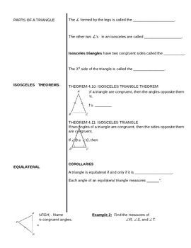 Honors Geometry 4.6 Isosceles and equilateral triangle notes