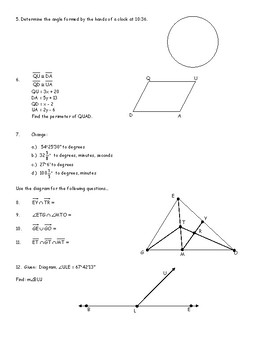 Honors Geometry Chapter 1 Introduction to Geometry