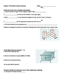 Honors Geometry Chapter 1 Review