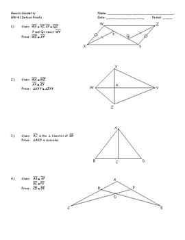 Honors Geometry Chapter 4 Perpendicularity