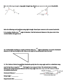 Honors Geometry: Chapter 8: Right Triangles and Trigonometry