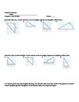 Honors Geometry: Chapter 8: Right Triangles and ...