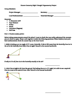 Honors Geometry Trigonometry Project