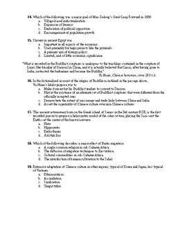 Honors World History Comprhensive Final Exam w/ Study Guide & Key