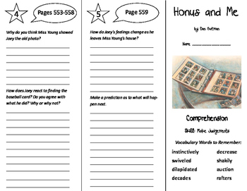 Honus and Me Trifold - Treasures 6th Grade Unit 5 Week 4