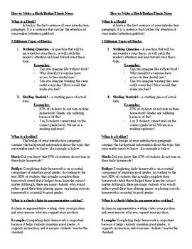 Hook, Bridge, Thesis Notes - Introduction Paragraph - Printable | TpT