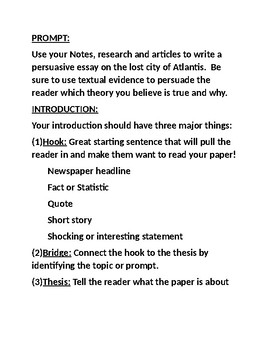 hook bridge thesis worksheet pdf
