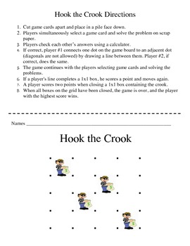 Hook the Crook - A 2 Player Game to Practice Adding Whole and Decimal Numbers