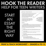 Hook the Reader with Strong Introductory Paragraph Launch, Hooks, Writing Help