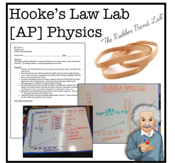 """Hooke's Law Lab: """"The Rubber Band Lab"""" Physics/AP Physics"""