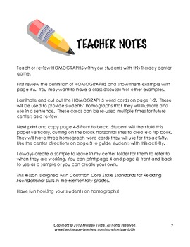 Hooked on Homographs Literacy Center Activity w/ Printables CCSS 3rd grade