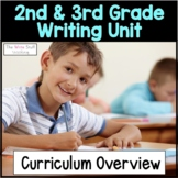 Writers Workshop Year Long Writing Overview & Book List for 2nd & 3rd Grade