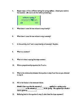 Hooke's Law, A Phet Lab
