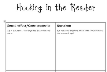 Hooking in the Reader Graphic Organiser