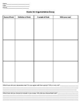 Hooks Graphic Organizer for Argumentative and Persuasive Writing