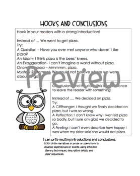 Hooks and Conclusions Printable Anchor Chart