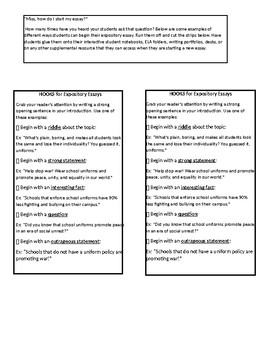 Hooks and Starter Sentences for Expository Essays