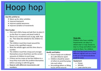 Hoop Hop - Game Activity Card