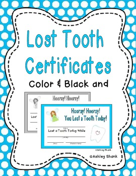 Hooray! Hooray! You Lost a Tooth Today! Certificates - Freebie!