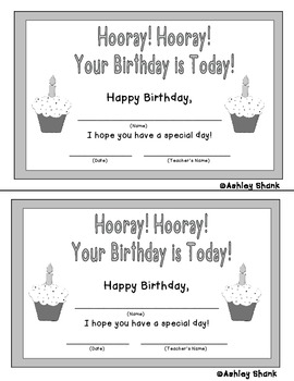 Hooray! Hooray! Your Birthday is Today! Happy Birthday Certificates - Freebie!