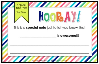 Hooray! Notes (*Digitally Editable* )