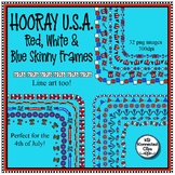 Hooray U.S.A. - 16 Red White & Blue Skinny Frames - 4th of July - Ink Saver!