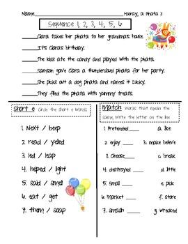 Hooray, a Pinata vocab quiz/skill sheet