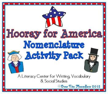 Hooray for America Nomenclature 3–Part Vocabulary Cards Activity Pack