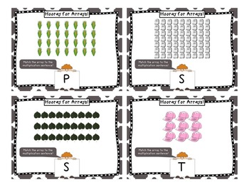 Hooray for Arrays Task Cards - Multiplication Practice with Unique Answer Code